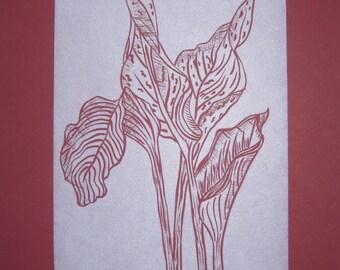 Cala Lily Original Handprinted Limited Edition Linocut Print