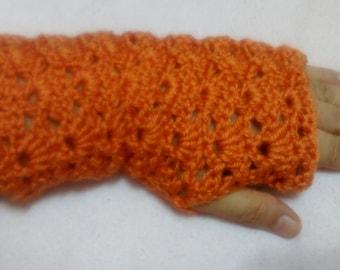 crochet fingerless gloves / fingerless mittens; lace gloves; Crochet gloves; hand warmers ; wrist warmers; orange gloves