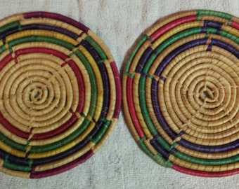 Vintage woven wrapped 9 inch round Trivets