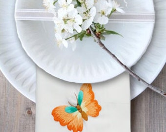 4-Butterfly Linen Embroidered Napkins, White Napkins, Cloth Napkins, Hand Embroidered Napkins, Linen Napkin With Embroidered Butterfly
