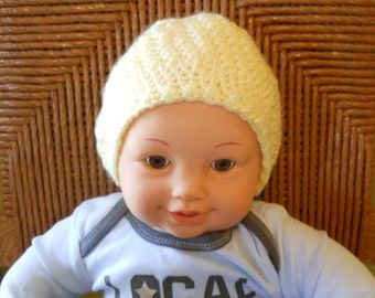 Baby Beanie, Yellow Baby Hat, 1-3 Month Baby Hat, Baby Hat, Yellow Beanie, Crochet Baby Hat, Baby Shower Gift, Crochet Hat