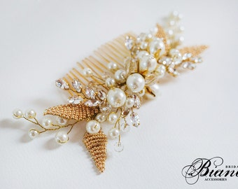 Bridal Pearl Hair Comb, Wedding Hair Comb, Wedding Headpiece, Bridal Bohemian Headpiece,Wedding Hair Comb- Bianca