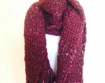 Oversized Scarf / Wrap Made from Extra Chunky Yarn can be worn in many different ways, scarf, wrap, shades of pink