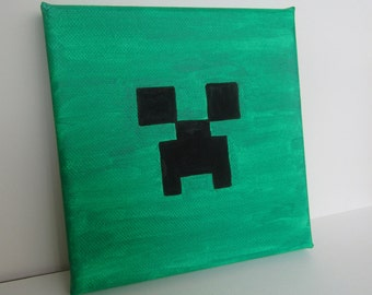 Hand Painted Minecraft Creeper Canvas