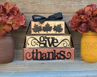 Fall Decor-Thanksgiving Home Decor-Rustic Home Decor-Give Thanks-Country Home Decor-Shelf Sitter Wood Blocks-Wood Sign-Fall Blocks-Primitive