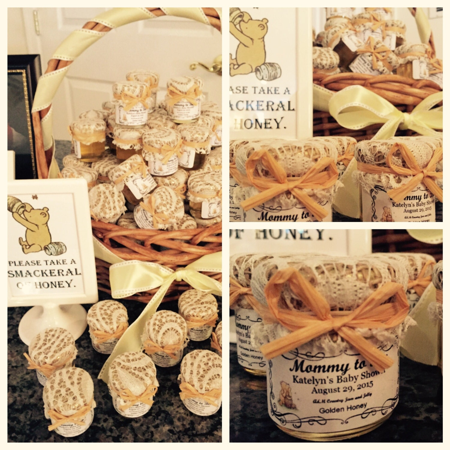 winnie the pooh honey baby shower favors by countryjamandjelly