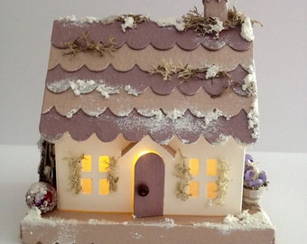 Winter Cottage/ decor/ gift/ tea light/ seasonal