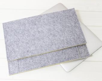 Felt laptop sleeve, Gray felt case, Macbook Air case, Unique laptop sleeve, 13 laptop case, Unique Gift, Minimal laptop pouch, Yellow laptop