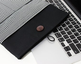 Macbook Air sleeve, New Macbook case, simple laptop case, Unique laptop sleeve, black and white case, Black laptop sleeve, 12 laptop sleeve