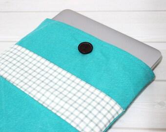Macbook Air case, 12 laptop sleeve, gingham laptop sleeve, 11 laptop sleeve, Air 11 case, Macbook 12, mint Macbook sleeve, Unique gift