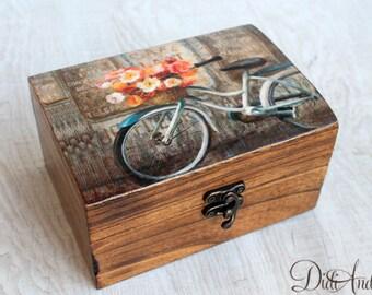 wooden jewelry box elegant gift decoupage box shabby chic box rustic decoration