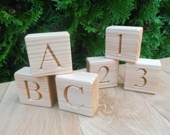 Wooden blocks with letters and numbers, Blocks with letters, Blocks alphabet, ABC, handmade blocks, eco- friendly, engraved wooden blocks