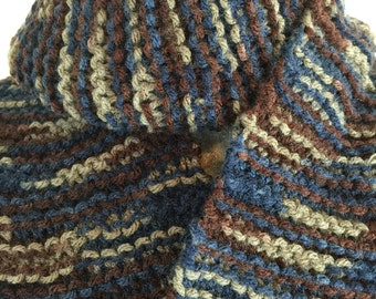 Multi Earth Tone Knit Scarf with Fringe