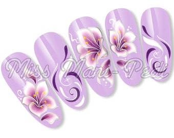 Luxury Nail Art Water Slide Decals Transfers Stickers for Long Nails - Purple Flowers SL037B Silver
