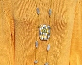 Gray yellow large necklace pendant jewelry polymer clay jewelery geometric pattern boho style striped pendant abstract boho pendant