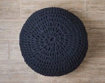 Navy Blue Ottoman Pouf - Crochet Floor Pouf - Knitted Ottoman - Floor Cushion - Home Decor