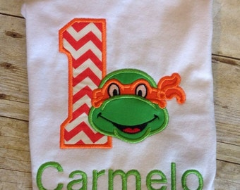 Tmnt Personalized embroidered first birthday shirt