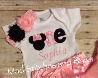 Minnie mouse ONE Custom embroidered number birthday shirt with hair flowers