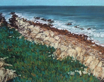 Ragged Coast Montano de Oro - small original 7x10 pastel painting california ocean waves seascape
