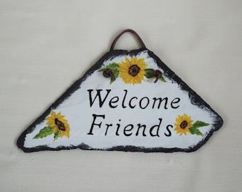 Small Hand Painted Slate Welcome Sign with Sunflowers - Slate Porch Signs - House Signs - Greeting Signs - Slate Sunflower Decor