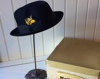 Vintage Mallory / Men's Black Fur Felt Fedora In Original Box