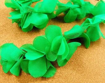 Lace Trim Green Chiffon Flower Ribbon Trim Bridal Chiffon Trim for Wedding Decor Clothes 1 Yard r18g