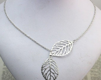 Double Leaf necklace gift