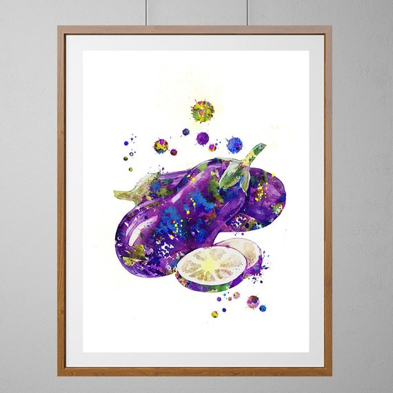 Purple Eggplant Aubergine Kitchen Wall Decor Poster: Eggplant Watercolor Print Kitchen Art Vegetables By MimiPrints