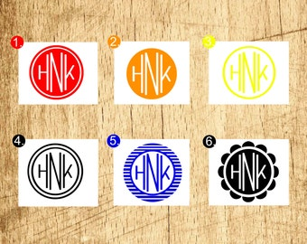 Monogram decal / Macbook decal / Iphone decal sticker / Wall decal / Car monogram decal / custom monogram / initials hnkmd001