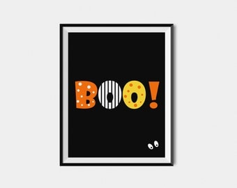 Halloween Printable Boo Sign,  Digital Halloween Decor, Halloween Wall Art Print,  Halloween Party Decoration BOO! Print, Fall Wall Art