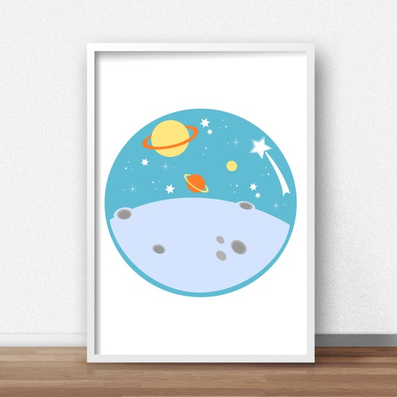 Baby boy nursery wall art outer space nursery decor boys for Decor outer space