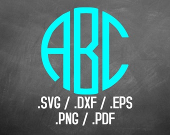 Monogram Circle Font Design File, Silhouette Studio, Cricut Design, Brother Scan Cut, Scal, DXF File, SVG Font, EPS File, Svg file, Initials