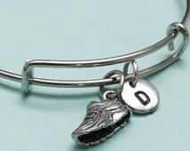 Running shoe bangle, running shoe charm bracelet, expandable bangle, charm bangle, personalized bracelet, initial bracelet, monogram