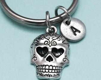 Sugar skull keychain, sugar skull charm, skull keychain, personalized keychain, initial keychain, initial charm, customized, monogram