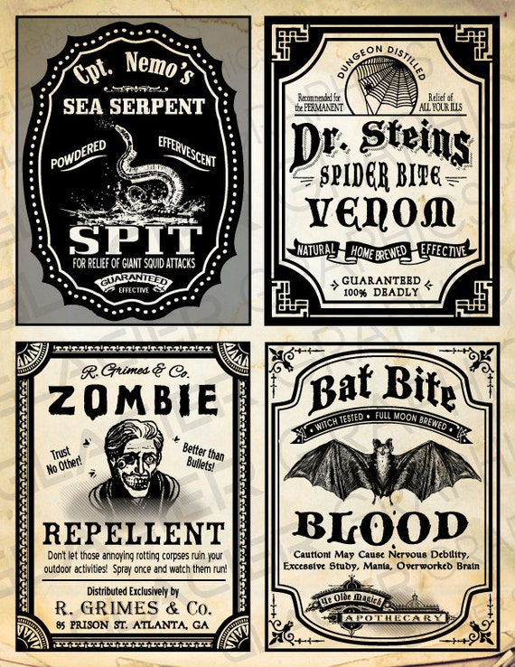 Halloween witch Labels Vintage Poison Apothecary Tags ...