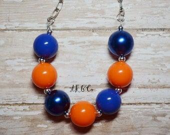 Orange, Blue and Metallic Blue Florida Gators Bubblegum Necklace