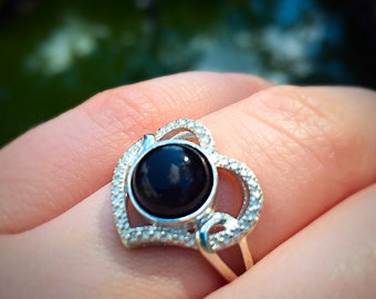 black onyx sterling silver textured heart ring size 7 1/2
