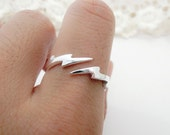 sterling silver lightening bolt ring thunder storm dainty ring everyday ring bridesmaid gift R03