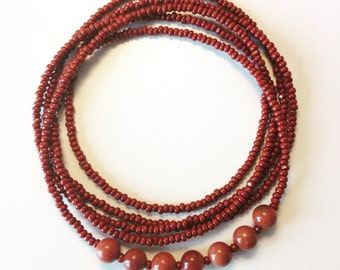 Burnt Orange Single Wrap Necklace