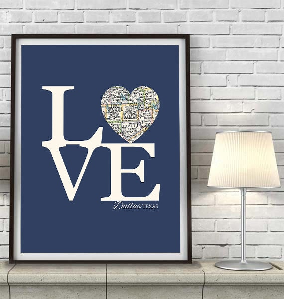Dallas Texas LOVE Vintage Heart Map ART PRINT City State Gift