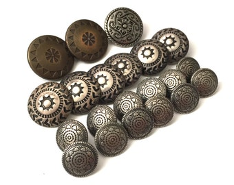 Vintage Silver Metal Button Lot with Awesome Designs