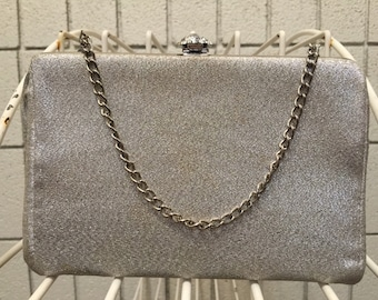 Silver metallic clutch / evening bag