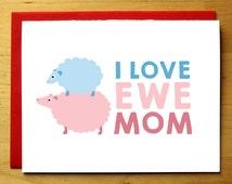Sheep mother's day card - love ewe - cute animals - funny - love - adorable sheep mom grandma - nerdy card - purple blue - blank card