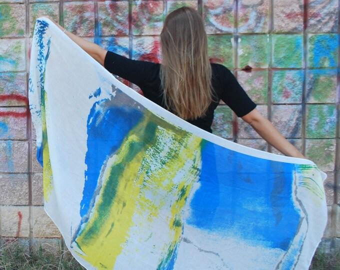 Blue Yellow Scarf Tribal Wrap Yellow Scarf Gifts For Her Blue Scarf Blue Cotton Scarf Blue Tribal Scarf Women Summer Fashion Blue Shawl