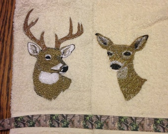 Embroidered Hand Towel Set with Buck and Doe Camouflage Design Ribbon, Buck and Doe Design, Cream Hand Towel, Camouflage, Trophy Buck Design