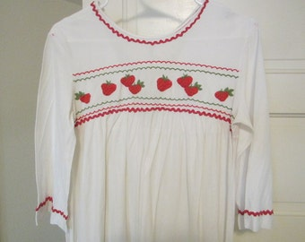 Embroidered Strawberry Long Sleeved Trillium Nightgown