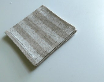Linen Coasters, Set of 4, Fabric Coasters, Drink Coaster, Modern/Natural/Stripes.