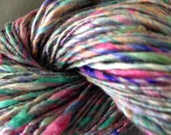 Colorful - hand-dyed and hand-spun yarn, silk & Seacell - knitting supplies, crochet sipplies, handspun yarn