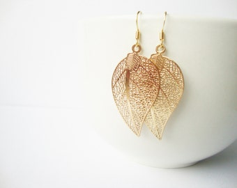 Earrings large golden leaf