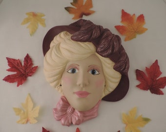Ceramic Victorian Face, Mask Wall Hanging, Handpainted Wall Plaque